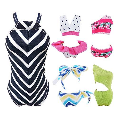 E-TING 5 Sätze Kleider Handgemachte Bademode Beach Bikini Badeanzüge Outfits für Mädchen Puppe , Swim Style A , Puppe Nicht Enthalten