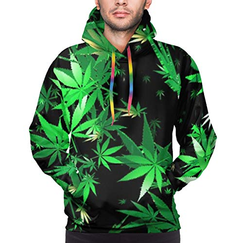 Moshow Sudadera con Capucha para Hombre Hojas de Marihuana (2) Sudadera XL