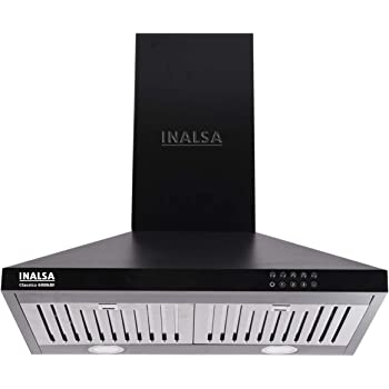 Inalsa 60 cm, 1050 m³/hr Pyramid Chimney Classica 60BKBF with SS Baffle Filter/Push Button Control (Black)