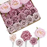 Ling's moment Roses Artificial Flowers Ombre Box Set - Realistic Fake Roses with Stem for DIY Wedding Centerpieces Bouquets Decorations