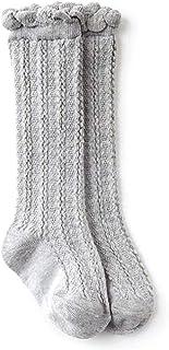 FairySu, Woqook - 1 par de calcetines de encaje unisex para bebé niña niño hasta la rodilla de algodón para primavera, otoño e invierno