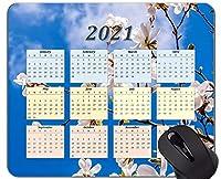 2021カレンダーマウスパッド、マグノリアの花春のパーソナライズされた長方形のゲーム用マウスパッド