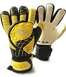 FINGERSAVE Goalkeeper Gloves by K-LO - The Savage Goalie Glove Has Fingersave Protection in All 5-Fingers to Prevent Injury and Improve Shot Blocking. Super Sticky Palms.Youth &Adult Sizes. Yellow.