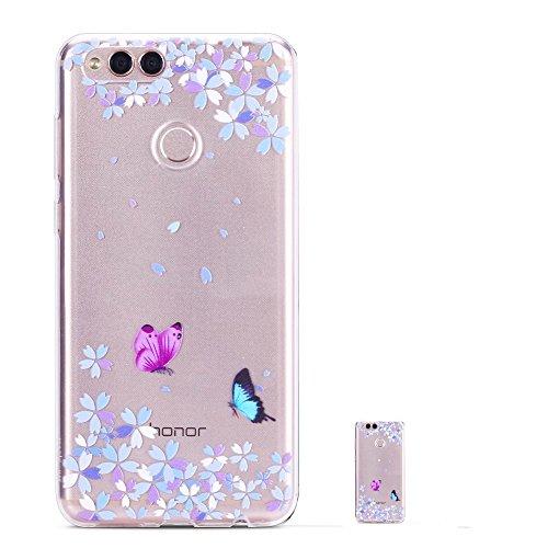HopMore Coque Huawei Honor 7X Transparent Motif Swag Silicone Souple Etui Huawei Honor 7X Antichoc Ultra Mince Fine Gel Bumper Case Housse Transparente Design pour Fille Femme - Papillon Fleurs