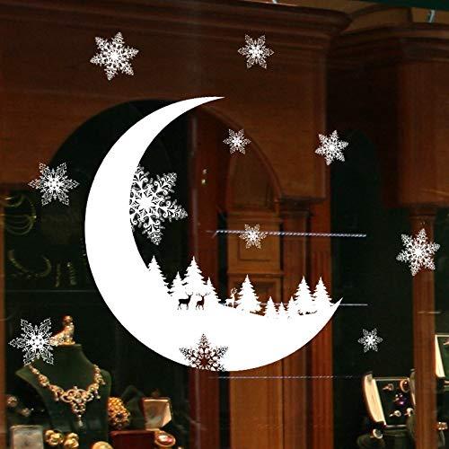 BZLine Mur Autocollant Joyeux Noël Santa Claus Décorations Stickers Muraux Vitrines de Bande Dessinée Animaux Vinyle Stickers