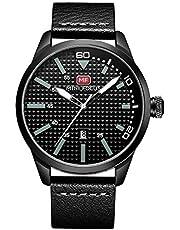 ساعة للرجال من ميني فوكاس، مع عرض انالوج وحركة الكوارتز وسوار جلدي - طراز MF0021G.02