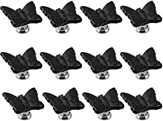 IdealDecor 12PCS Black Cute Butterfly Porcelain Ceramic Door Knobs/Pull/Handle for Kitchen Cabinet Drawer Cupboard Chest ,...
