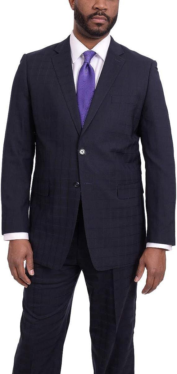 Steven Land Classic Fit Navy Blue Tonal Plaid Two Button Wool Suit