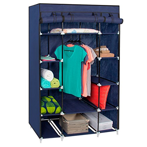 Best Choice Products Portable 13-Shelf Wardrobe Storage Closet Organizer w/Cover and Hanging Rod, Blue