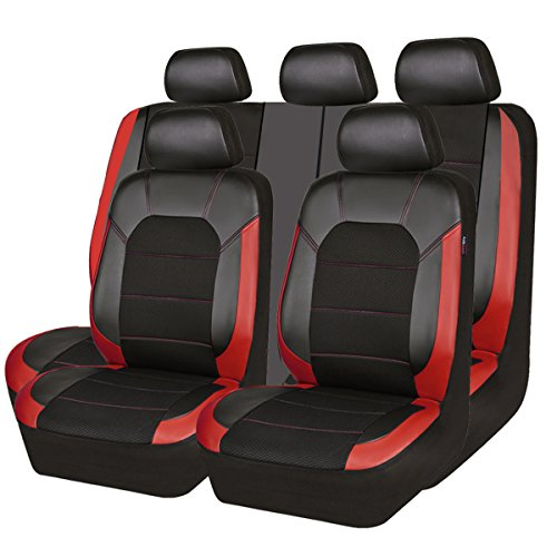 red and black seat covers leather - 1