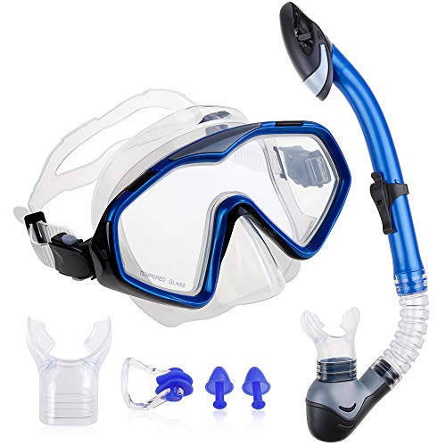 Zacro Schnorchelset Taucherbrille mit Schnorchel Tauchset Taucherbrille mit gehärtetem Anti Beschlagen Gläser Schnorchel Set mit 2 weichen Mundstücke für Erwachsene und Jugendliche