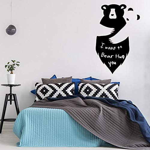 Geiqianjiumai Leuke dier muurschildering twee beren knuffel muur sticker citaat slaapkamer Ik wil beer knuffel tekst muur decal jongen slaapkamer
