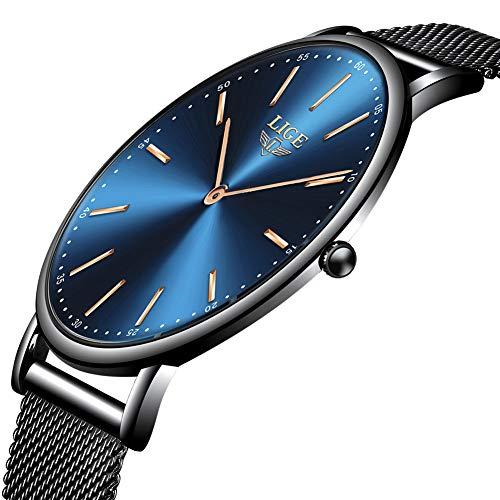 LIGE Herren Uhren Mode Wasserdicht Sport Analoger Quarz Uhr Beiläufig Ultra-Thin Dial Schwarze Edelstahl Mesh Armbanduhr Maenner
