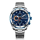MEGIR Men's Stainless Steel Dress Quartz Watches Business Chronograph Wristwatch for Man Luminous Hands