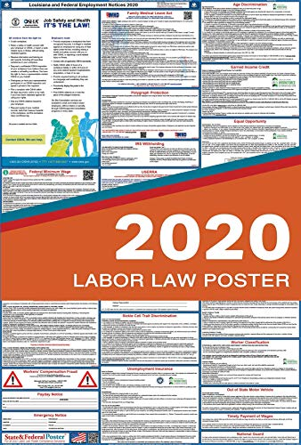"""2020 Louisiana Labor Law Posters (Laminated) All-in-One State and Federal Approved, OSHA Compliant Vertical 27""""x40"""" [LA2-27X40-ENG]"""