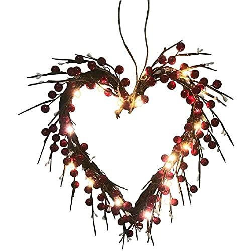 YuKeShop Corona de San Valentín, decoración de la puerta delantera de bayas rojas en forma de corazón con 20 LED funciona con pilas, perfecto para el día de San Valentín, aniversarios, bodas