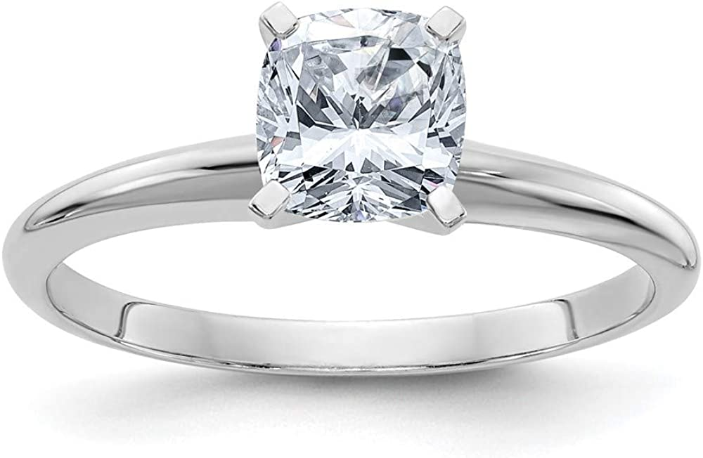 14k White Gold 3/4ct. D E F Pure Cushion Moissanite Solitaire Band Ring Engagement Gsh Gshx Fine Jewelry For Women Gifts For Her