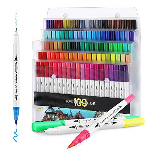 100 Dual Tip Brush Pens, Magicfly Water Coloring Markers with Fineliner Tip 0.4 and Highlighters Brush Markers(1mm-2mm), Water Based Markers for Adult Coloring Book, Calligraphy, Manga, Bullet Journal