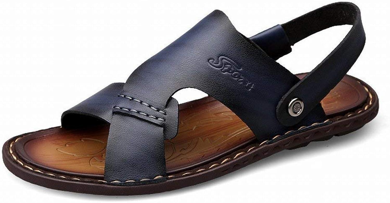 Fuxitoggo Klassische Allgleiches Sandaletten Bequeme Mikrofaserleder-Mnnerpantoffel Rutschfeste Tragen Sandelholze (Farbe   SaphirBlau, Gre   42)