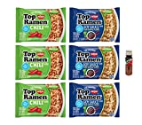 Nissin Top Ramen Noodles Vegetarian, Soy Sauce Flavor and Chili Flavor (6 Count) Includes 3 of Each with Free Mini Tajin .35 oz