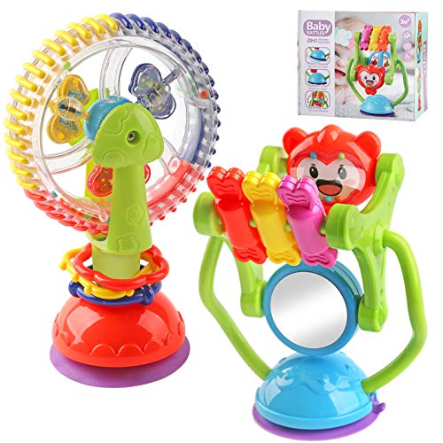 Baby Rattle Toys - Rattles Infants Toys - Newborn Gift Set for 3 6 9 12 Months Babies - Babies Rattles With Suction Cup Grab Shaker and Spin - Baby Toys for Babies Girls & Boys (Baby rattles toy)