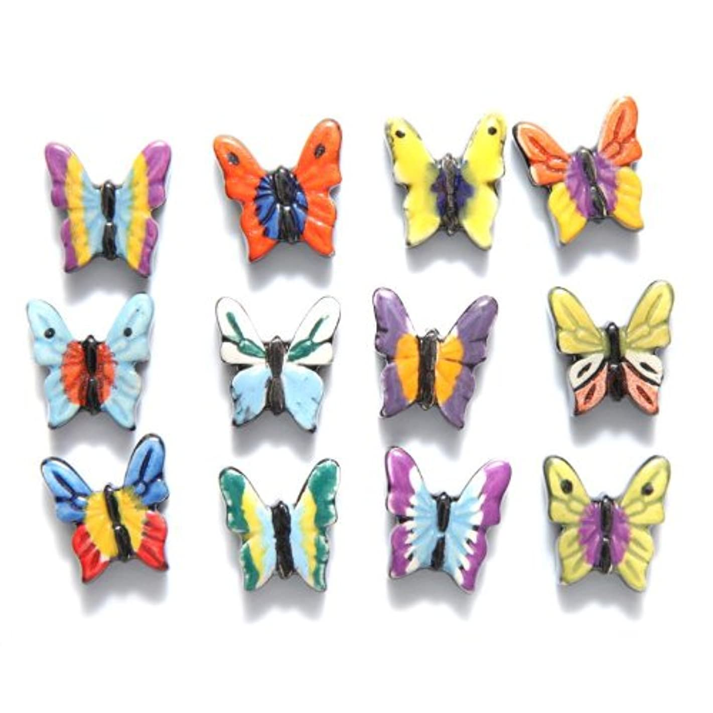 Shipwreck Beads 18 by 19mm Peruvian Hand Crafted Ceramic Butterflies Beads, Assorted Color, 3 per Pack