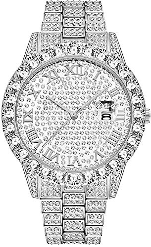 WYOY Non applicabile Iced out Orologi Hip Hop Bling-Ed out Rapper's Luxury Diamond Watches Watches Hip Hop Gioielli per Gli Uomini Donne