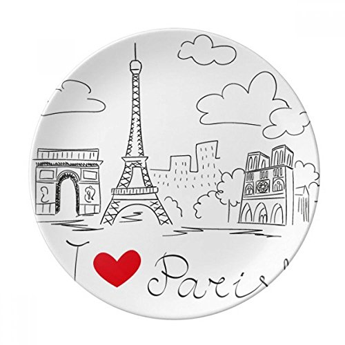 DIYthinker I Love Paris Tour Eiffel France Ligne Décorative Porcelaine Dessert Plate 8 Pouces Dîner Accueil Cadeau 21cm Diamètre Multicolor