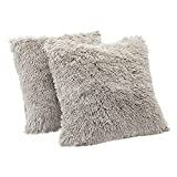 Amazon Basics Shaggy Long Fur Faux Fur Throw Pillow Covers, 18'x18', Pack of 2 - Taupe
