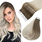 Easyouth Tape in Extensiones Cabello Humano 14Pulgadas 80g Color 8/60 Ash Brown mix con Blonde Tape Remy Hair Extensions Remy 100% Human Hair