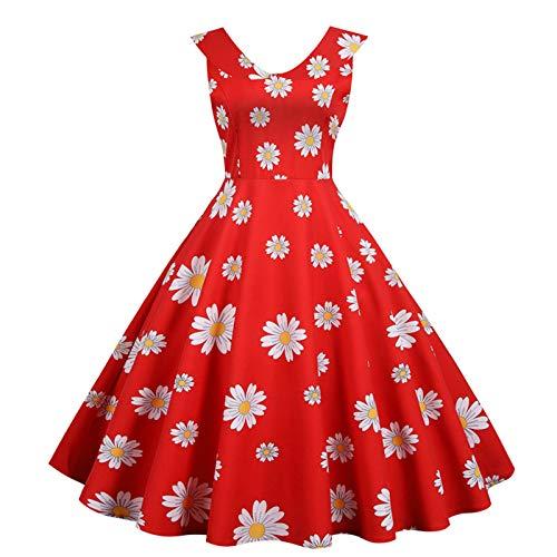 Damen Rockabilly V-Ausschnitt Faltenrock Schmetterling Drucken Kleiden Prom Swing Ärmellos Süß Mädchen Kleider Mit GüRtel Frauen Klassisch...