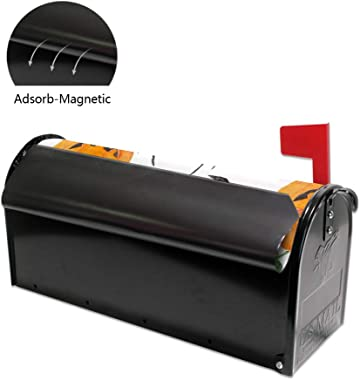 ZhiMi Mailbox Stickers Magnetic PVC Waterproof Sunscreen Fully Fit The Mailbox 2 Sizes Halloween Pattern Watercolor