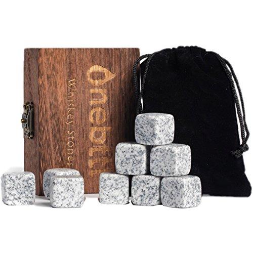 Pietre Whiskey Premium per Raffreddare Whisky, Vino e altre Bevande, mantiene il drink a freddo, non diminuisce con acqua, cubetti di ghiaccio riutilizzabile. Set da 9 pezzi granito