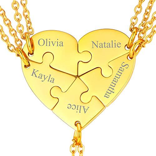 FaithHeart Collares Dorados Corazón 5 Piezas Conjunto Rompecabezas para Mejores Amigos para Sioempre Cadena Ajustable Elegante Rolo