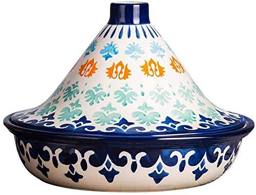 Olla de tagine marroquí pintada a mano, olla de cocción lenta de 1,5 litros para cocinar alimentos saludables sin plomo, para diferentes estilos de cocción y configuraciones de temperatura-A