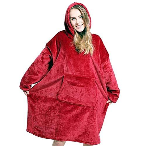 cotton yangda Sherpa Wearable Robe couvertures Polaire en Peluche à Manches TV Plaids Super Doux Chaud Confortable Grande Sweat à Capuche Robes de Chambre Cadeaux de Noël pour Adulte Pull pour Homme