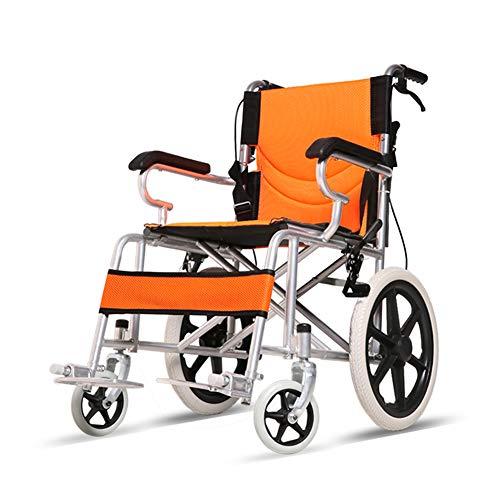 WANGXN Fahrend Rollstuhl Faltbare Carbon Steel Rollstuhl leichte, tragbare Transit Travel Chair,Orange