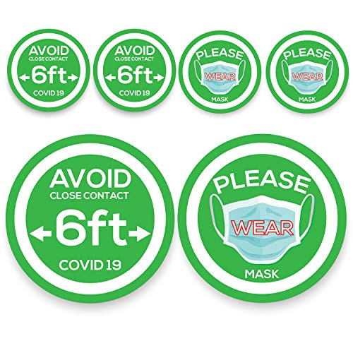 Wear Face Mask Sticker Sign - Social Distance Keep 6 ft Floor Window Sticker - Covid 19 Sign Sticker - Warning Caution Virus Quarantine Safety for Window Door Sticker - Notice Stay Away Window Floor removable Sticker - USA made