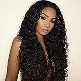Becus 24'peluca delantera de encaje rizado largo negro rizado natural pelo sintético resistente al calor rayita pre-depilada para mujer