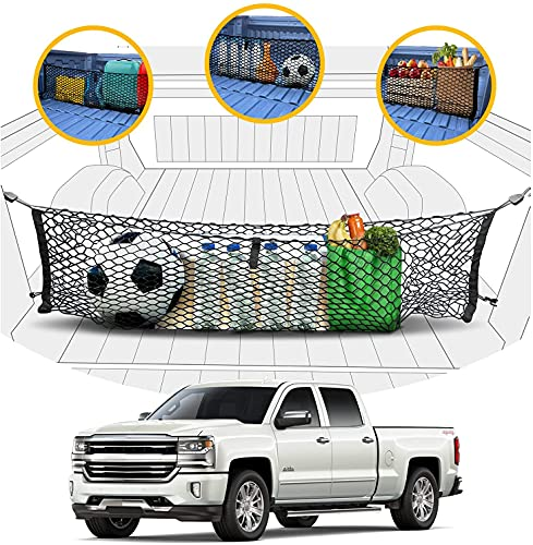 Envelope Style Trunk Mesh Cargo Net - Chevy Silverado Accessories 2013-2022 - Premium Trunk Organizers and Storage - Cargo Net for Pickup Truck Bed - Truck Bed Net for Chevy Silverado