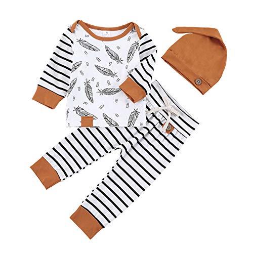 T TALENTBABY Kleinkind Kleinkind Langarm Federn Print Outfits Gestreiftes Strampler Shirt + Hose + Hut 3Stk Unisex Baby Playsuit Bodysuit Kleidung Set, Braun, 6-12 Monate