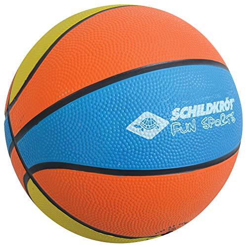 Schildkröt Mini-Basketball, Größe 2, Ø 15 cm, kleiner Basketball für Kinder, griffige Oberfläche, orange-gelb-blau, 970162
