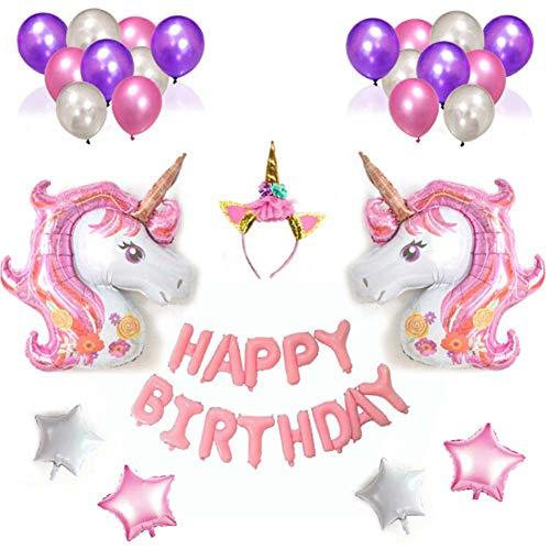 Qivange Einhorn Geburtstagsdeko Einhorn Luftballons, Happy Birthday Ballon Set mit Einhorn...