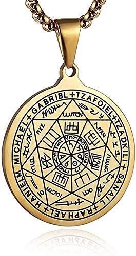 Yiffshunl Collar Retro de Acero Inoxidable Siete ángeles Hombres y Mujeres Amuleto Sello Collar Colgante de la Suerte Regalo de la joyería 22 + Regalo de Cadena de 2 Pulgadas