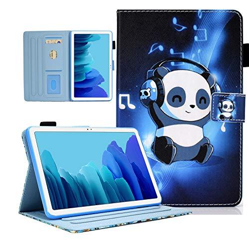 KEROM - Funda para Samsung Galaxy Tab A7 10.4 2020 (SM-T500, T505 y T507), piel sintética, funda de protección con función atril y apagado automático para Galaxy Tab A7 de 10,4' 2020, Panda