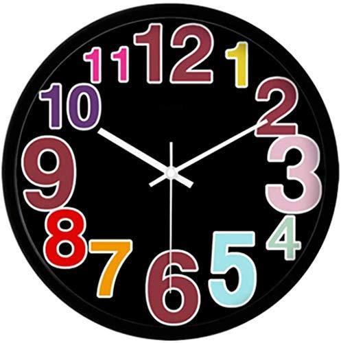 AWCVB Kreative Schöne Moderne Mode Stille Uhr Wohnzimmer Einfache Große Quarz-Wanduhr,Schwarz,14 Zoll