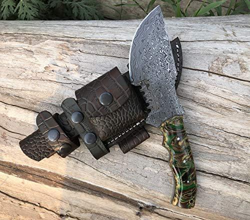 Custom Handmade Damascus Tracker Knife with Two Tone Dollar Sheet Wood Handle Knife Fixed Blade - Hunting Knife with 100% Pure Cowhide Leather Sheaths Horizontal