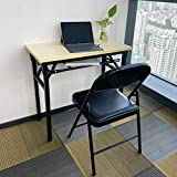 YJHome Small Folding Table Computer Desk and 2pcs Folding Chairs with Padded Seats for Small Spaces Home Office School