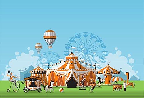 Aofoto 6x4ft Abstract Circus Tent Backdrop Cartoon Amusement Park Hot Air Balloon Photography Background Childhood Fun Carnival Party Decoration Photo Studio Props Kid Boy Girl Portrait Wallpaper Wantitall