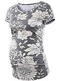 Love2Mi Damen Umstands-Tunika, Oberteil, seitlich gerüscht, kurzärmelig, figurbetonte Schwangerschaftskleidung - Grau - Mittel